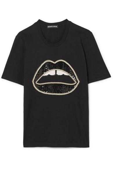 Markus Lupfer T-Shirt aus Baumwoll-Jersey mit Paillettenverzierung