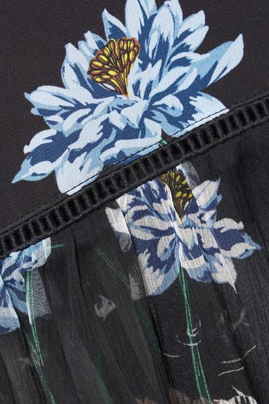 Markus Lupfer Belle Midikleid aus Crêpe de Chine aus Seide und Chiffon mit Blumendruck