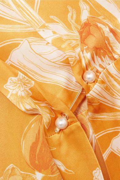 Mother of Pearl Oleta Maxikleid aus Seidensatin mit floralem Print und Rüschen