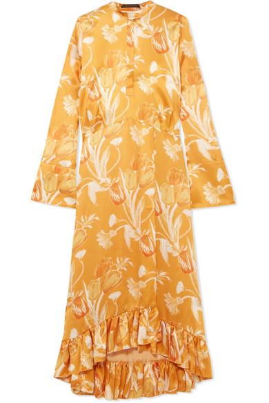 Mother of Pearl - Oleta Ruffled Floral-print Silk-satin Maxi Dress - Yellow