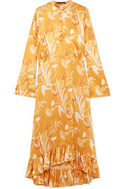 Oleta ruffled floral-print silk-satin maxi dress