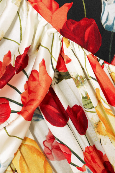 Mother of Pearl Pauletta gerafftes Midikleid aus floral bedrucktem Seidensatin