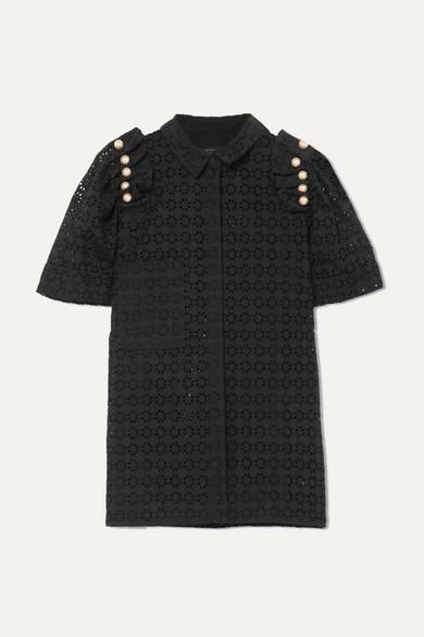 Mother of Pearl Tia Hemd aus Baumwolle mit Lochstickerei und Kunstperlen