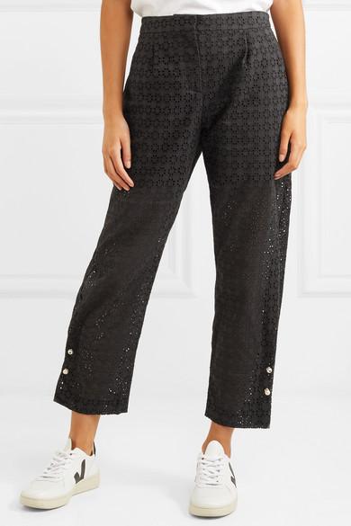 Mother of Pearl Jewell kunstperlenverzierte Hose mit geradem Bein aus Baumwolle mit Lochstickerei