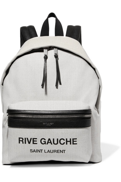 Mini City Leather-Trimmed Printed Canvas Backpack, White