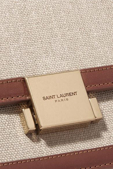 Saint Laurent Bellechasse mittelgroße Schultertasche aus Canvas mit Lederbesatz