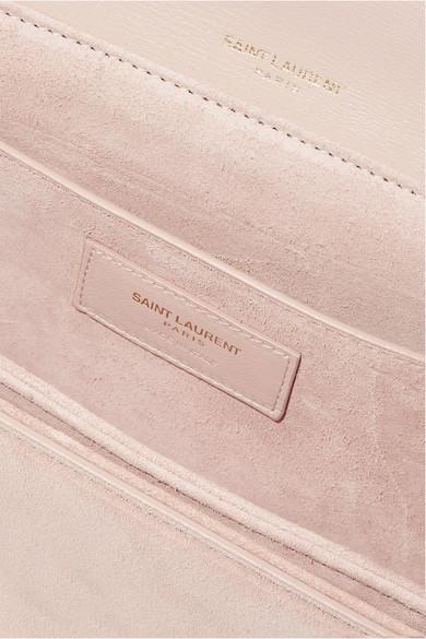 Saint Laurent Bellechasse mittelgroße Schultertasche aus strukturiertem Leder und Veloursleder