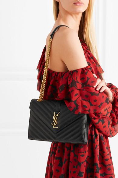 613739d5bf35c Saint Laurent. Envelope quilted textured-leather shoulder bag