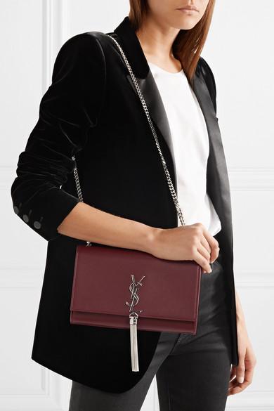 Saint Laurent Monogramme Kate mittelgroße Schultertasche aus Leder