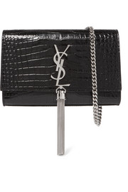 Kate small croc-effect patent-leather shoulder bag