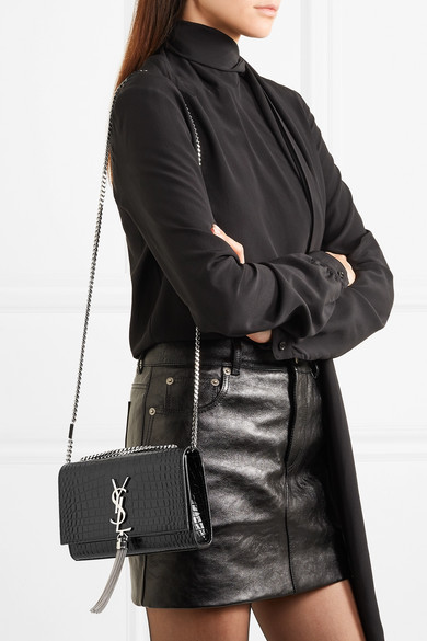 ea4ceb4878 Saint Laurent. Kate small croc-effect patent-leather shoulder bag