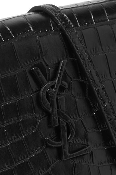Saint Laurent Monogramme Kate Toy Schultertasche aus Leder mit Krokodileffekt