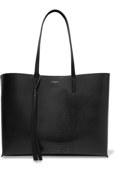 Perforated Logo Large Leather Shopper in Black
