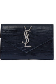 Small Envelope croc-effect glossed-leather wallet