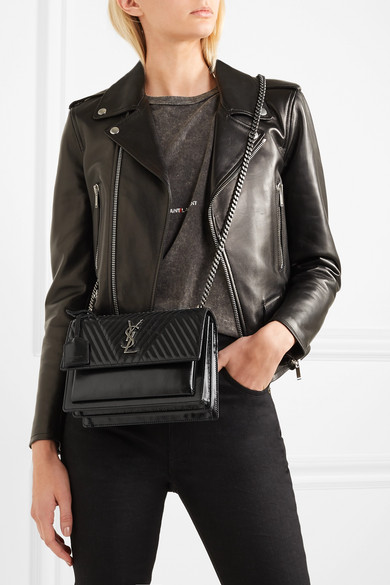 Saint Laurent. Monogramme Sunset medium glossed-leather shoulder bag 9da80882fdd4f