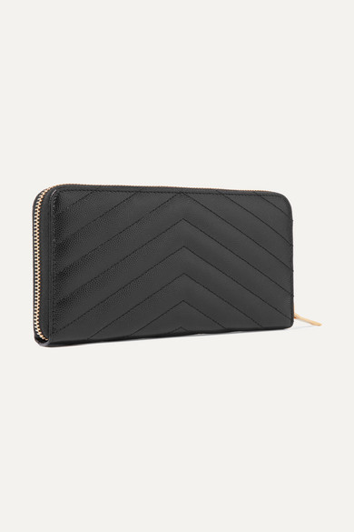 Saint Laurent Quilted Zip Around Wallet From Textured Leather