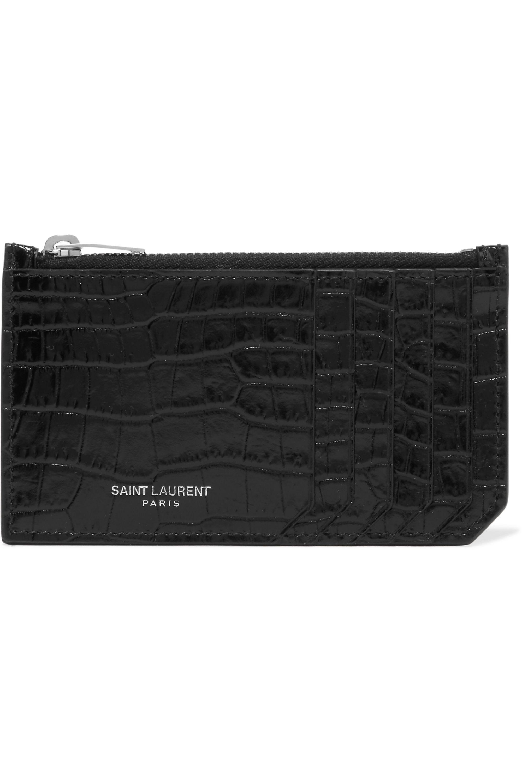 SAINT LAURENT Croc-effect patent-leather cardholder