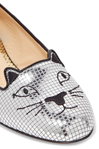 Charlotte Olympia Kitty Slippers aus Kork mit Stickerei