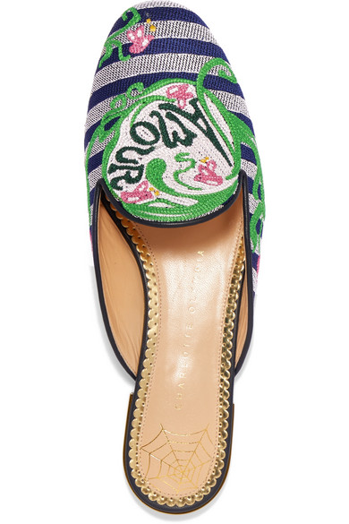 Charlotte Olympia Amour bestickte Slippers aus Jacquard