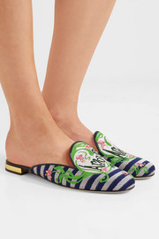 Charlotte Olympia Amour embroidered jacquard slippers