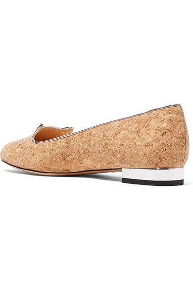 Kitty Embroidered Cork Slippers - Silver Charlotte Olympia OgQPJ