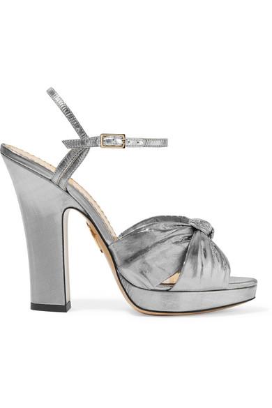 Farrah Knotted Lamé Platform Sandals in Silver