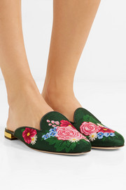 Rose Garden embroidered jacquard slippers