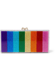 Penelope crystal-embellished glittered Perspex clutch