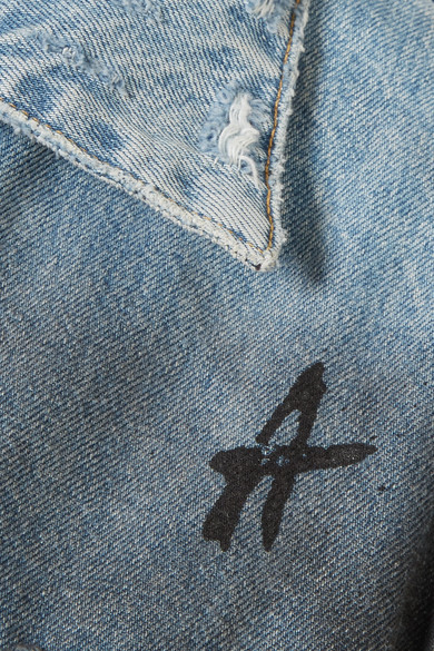 AMIRI Bedruckte Jeansjacke in Distressed-Optik