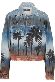 AMIRI Distressed printed denim jacket
