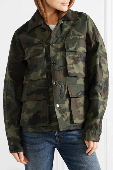 AMIRI Jacke aus Baumwoll-Canvas mit Camouflage-Print und Lederapplikationen