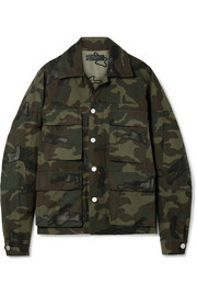 AMIRI Leather-appliqued camouflage-print cotton-canvas jacket