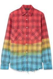 AMIRI Frayed dégradé checked cotton-flannel shirt