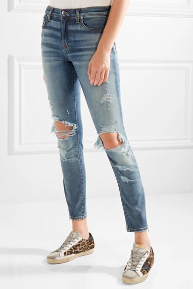AMIRI Thrasher hoch sitzende Skinny Jeans in Distressed-Optik