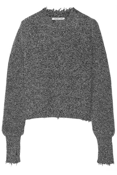 Helmut Lang Melierter Pullover aus einer Baumwollmischung in Distressed-Optik