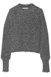Distressed marled cotton-blend sweater