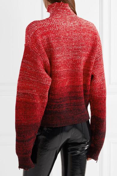 Helmut Lang Oversized-Rollkragenpullover aus einer melierten Wollmischung