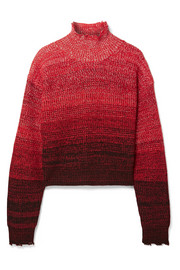 Oversized mélange wool-blend turtleneck sweater