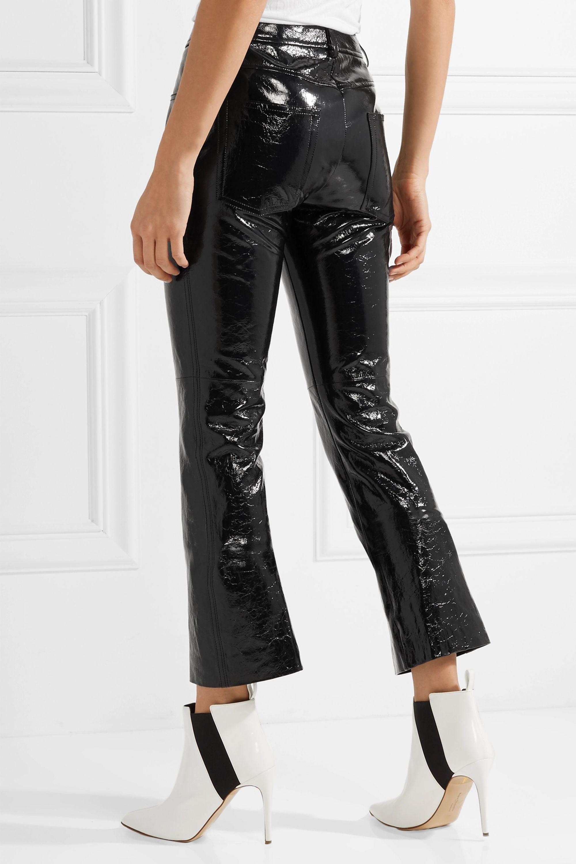 Helmut Lang Crinkled patent-leather slim-leg pants