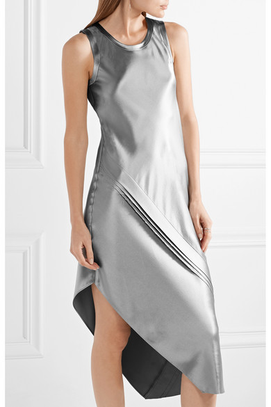Asymmetric Paneled Silk-satin Midi Dress - Silver Helmut Lang yxj29