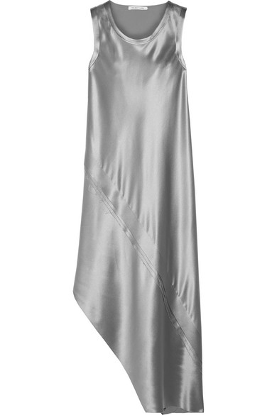 Helmut Lang - Asymmetric Paneled Silk-satin Midi Dress - Silver