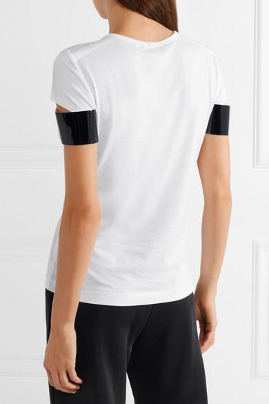 100% Authentisch Verkauf Online Helmut Lang T-Shirt aus Pima-Baumwoll-Jersey mit Kunstlederbesatz Niedriger Versand Footlocker Finish Zum Verkauf Rabatt Neuesten Kollektionen lduBY8MLD