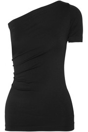 One-shoulder stretch-jersey top