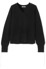 Helmut Lang Cutout distressed wool-blend sweater