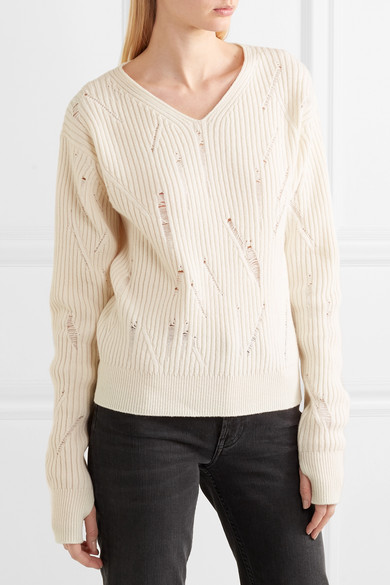 Helmut Lang Pullover aus gerippter Wolle in Distressed-Optik