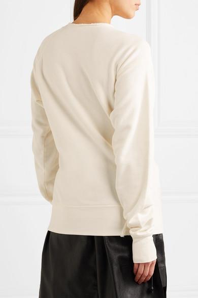 Helmut Lang Sweatshirt aus Baumwoll-Jersey mit Fransen