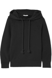 Helmut Lang Distressed cotton-jersey hooded top