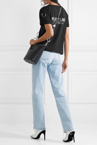 Helmut Lang Bedrucktes T-Shirt aus Baumwoll-Jersey mit Verzierung