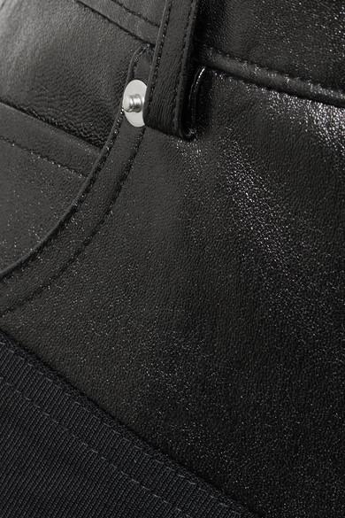 Helmut Lang Minirock aus einer Wollmischung mit Ledereinsätzen