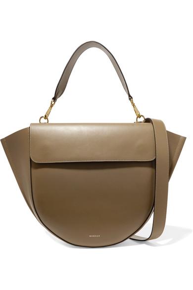 Hortensia Leather Shoulder Bag, Army Green